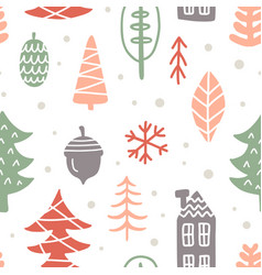 scandinavian winter christmas doodles pattern vector image