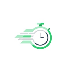 Stop watch flat icon time concept vector image vector image