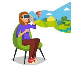 virtual reality helmet glasses innovation vector image