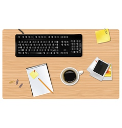 black keyboard and office supplies vector image
