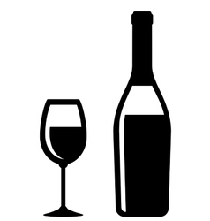 champagne bottle and glass icon vector image vector image