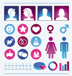 Infographics design elements - man and woman icons vector image