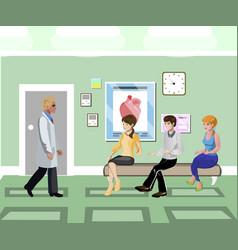 patients waiting in line in clinic corridor vector image