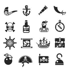 Pirates Black Icons Set vector image