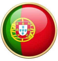 portugul flag on round button vector image vector image