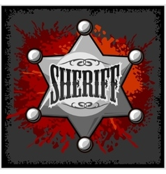 Silver sheriff star badge on vector image