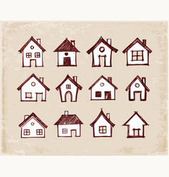 sketch of houses on vintage background vector image vector image