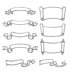 Sketch set of ribbons and scrolls vector image vector image