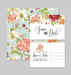 wedding invitation with autumn hortensia flowers vector image vector image