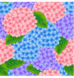 blue pink and purple hydrangea flower seamless vector image vector image