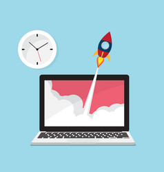 rocket launch from laptop with clock icon vector image