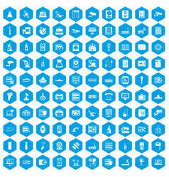 100 hardware icons set blue vector