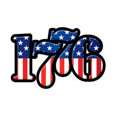 1776 year with usa flag vector