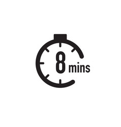 8 minutes timer stopwatch or countdown icon time vector