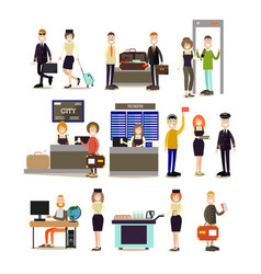 Airport people flat icon set vector