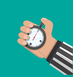 Analog chronometer timer in hand of referee vector