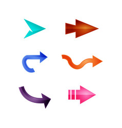 arrows set of colored shiny icons vector image