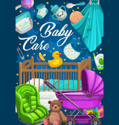 baby care products clothes and toys vector image
