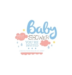 Baby Shower Invitation Design Template With Clouds vector image