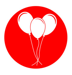 balloons set sign white icon in red vector image