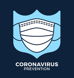 Banner face mask in shield icon prevention vector