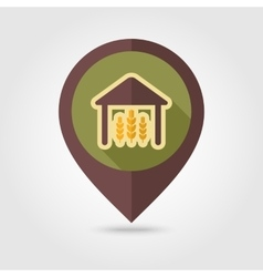 Barn flat mapping pin icon with long shadow vector