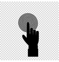 Black hand with index finger pushing spiral vector