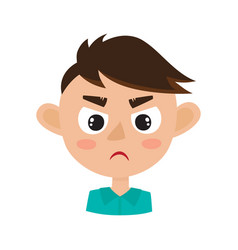 boy angry face expression cartoon vector image