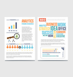 business analytics banner set with businessmen vector image