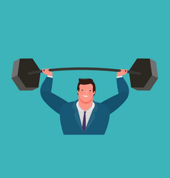 businessman raises heavy barbell up business vector image