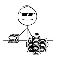 Cartoon poker player taking a gamble vector