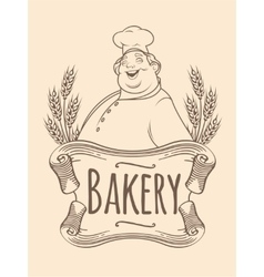 Chef baker label unicolorous vector