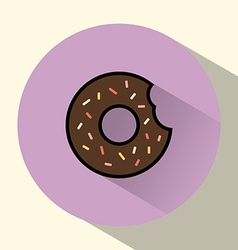 Chocolate cream donut with sprinkles round icon vector