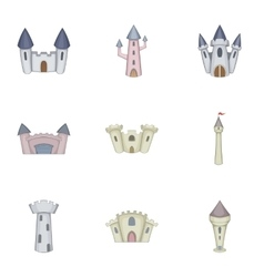 Citadel and chateau fortress icons set vector image