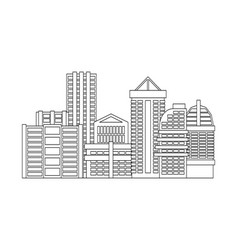 city is linear style town isolated many buildings vector image