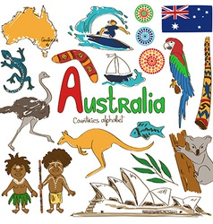 Collection australia icons vector