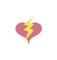 Colorful heart with thunder symbol lobe design vector