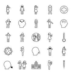 covid19 19 line style icon set design vector image