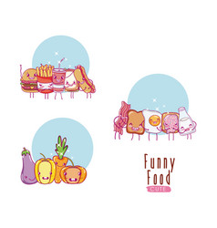 cute and funny food kawaii cartoons vector image