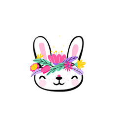 cute easter bunny face with minimal fantasy spring vector image