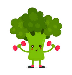 cute happy smiling broccoli doing exercises vector image