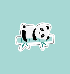 cute panda sleeping on bamboo stick - isolated vector image