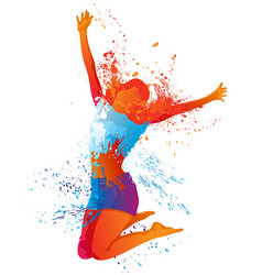 dancing girl with colorful splashes on white vector image
