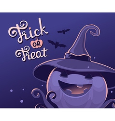 dark blue halloween of decorative pumpkin in vector image