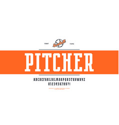 Decorative narrow serif font in sport style vector