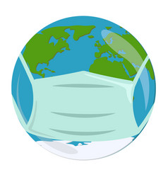 Earth in mask coronavirus quarantine in the vector