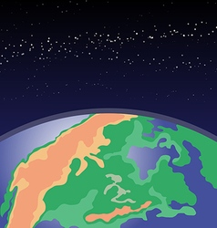 Earth in outer space Cosmic background with planet vector image