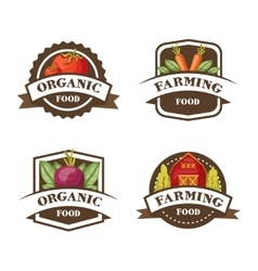 Farming Organic Food Emblems vector image