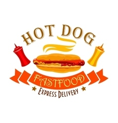 Fast food hot dog sign for food delivery design vector