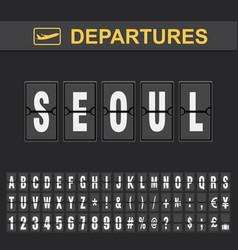 Flight info destination south korea flip vector